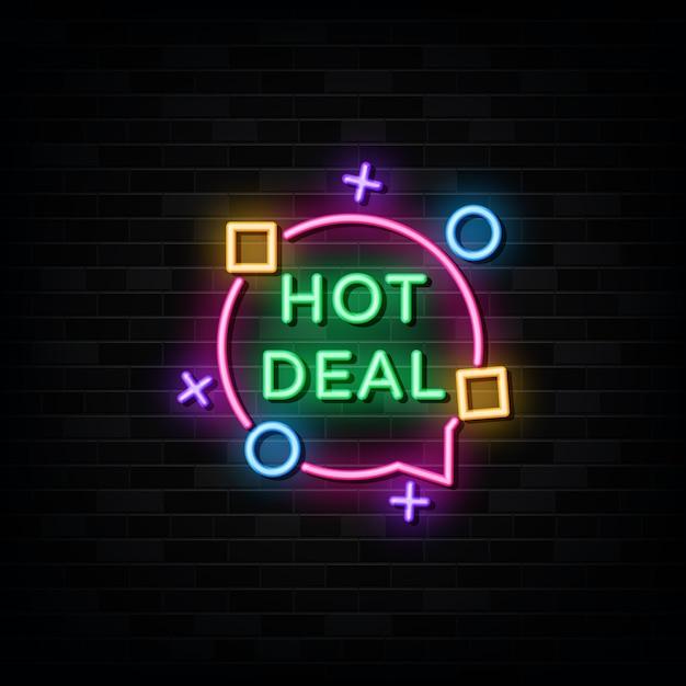 Hot deal leuchtreklamen design vorlage neon style Premium Vektoren