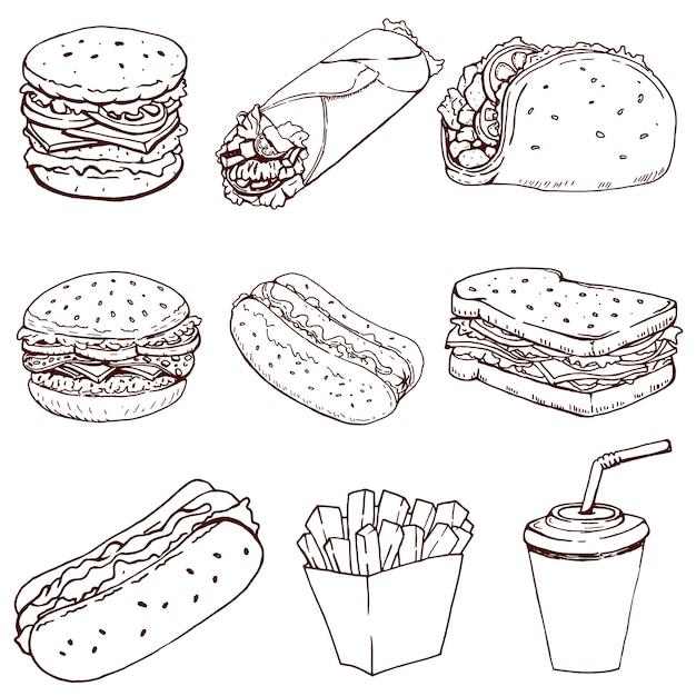 Hot dog, burger, taco, sandwich, burrito. satz von fast-food-ikonen lokalisiert auf weißem hintergrund. elemente für logo, etikett, emblem, zeichen, markenzeichen. Premium Vektoren