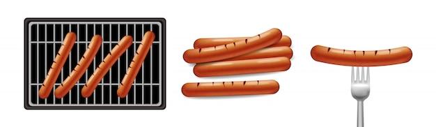 Hot dog grill essen Premium Vektoren