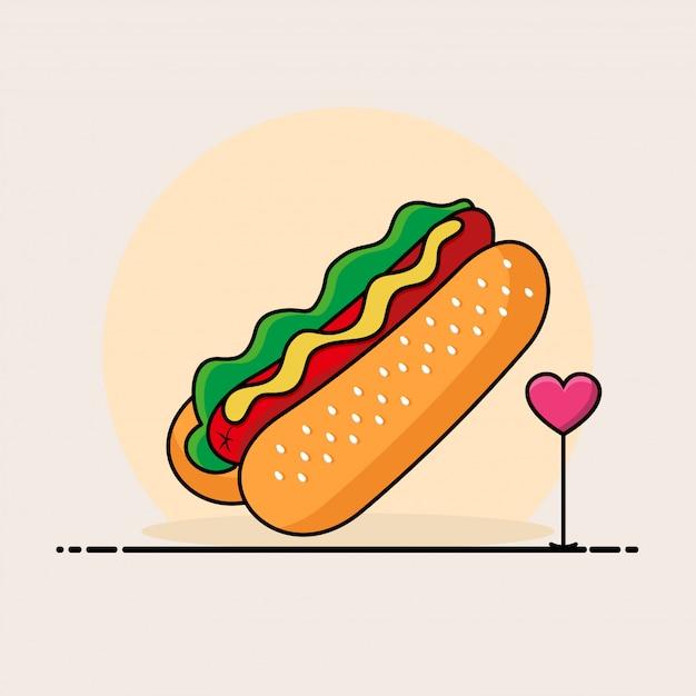 Hot dog illustration. fast-food-icon-konzept Premium Vektoren