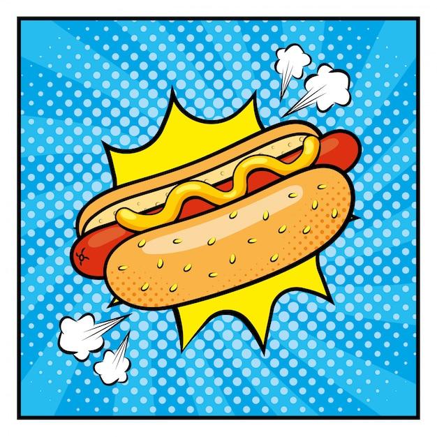 Hot dog mit saucen und pop-art-stil Premium Vektoren