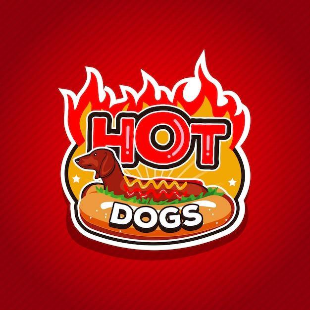 Hot dogs logo design Premium Vektoren