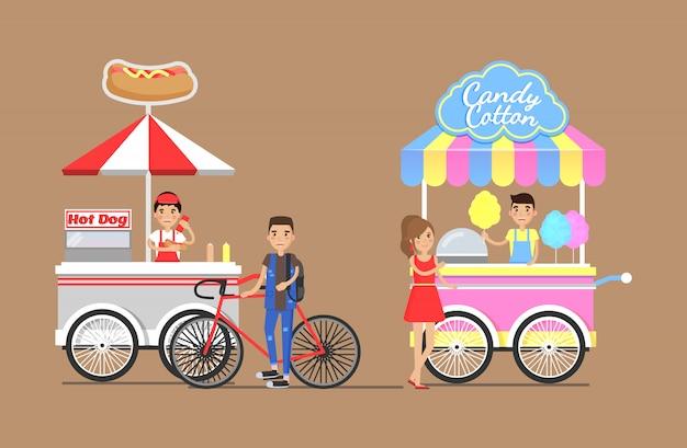 Hot dogs und zuckerwatte von street carts set Premium Vektoren