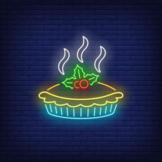 Hot pie leuchtreklame Kostenlosen Vektoren