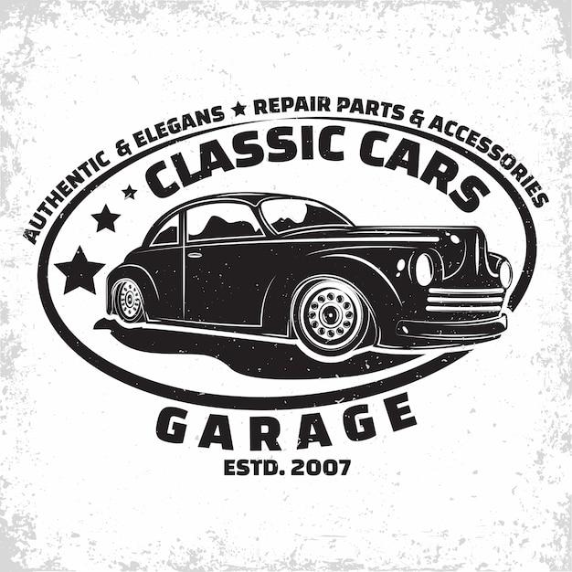 Hot rod garage illustration Premium Vektoren