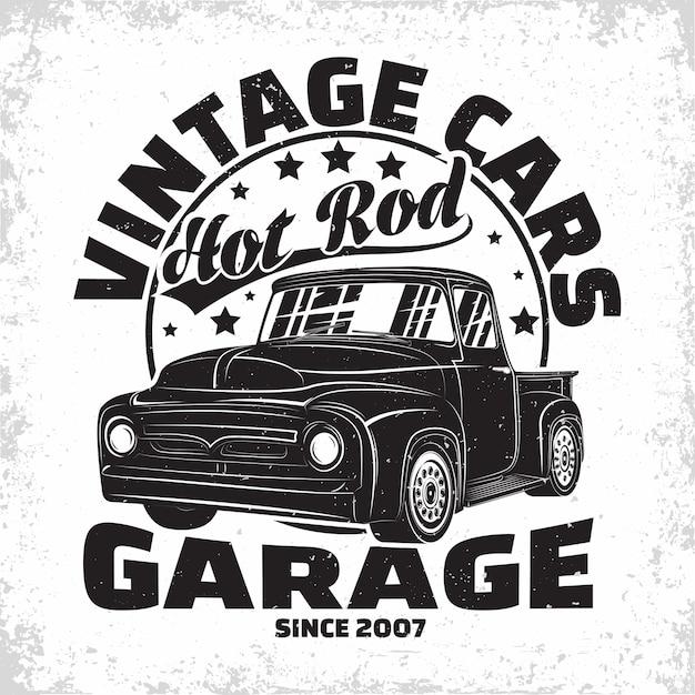 Hot rod garage logo design retro auto garage druckstempel Premium Vektoren