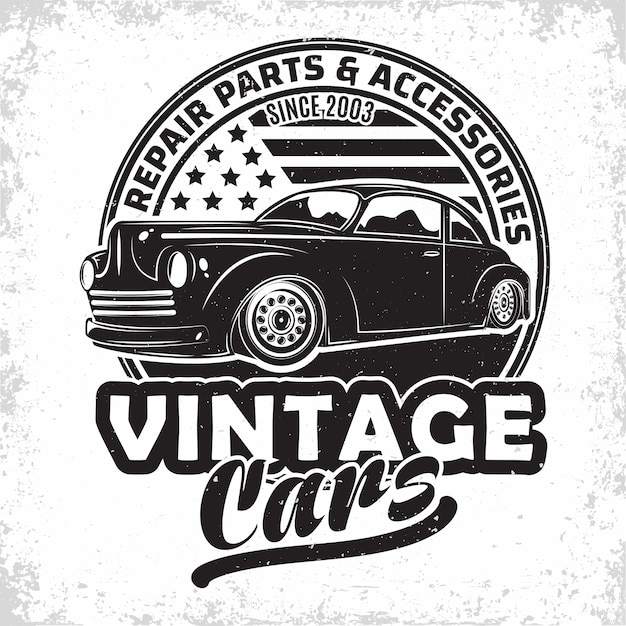 Hot rod garage logo design Premium Vektoren