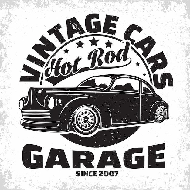 Hot rod garage logo, emblem der muscle car reparatur- und serviceorganisation, retro car garage druckstempel, hot rod typografie emblem, Premium Vektoren