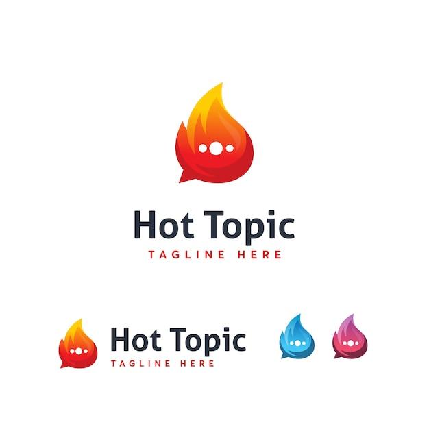 Hot topic logo-vorlage Premium Vektoren