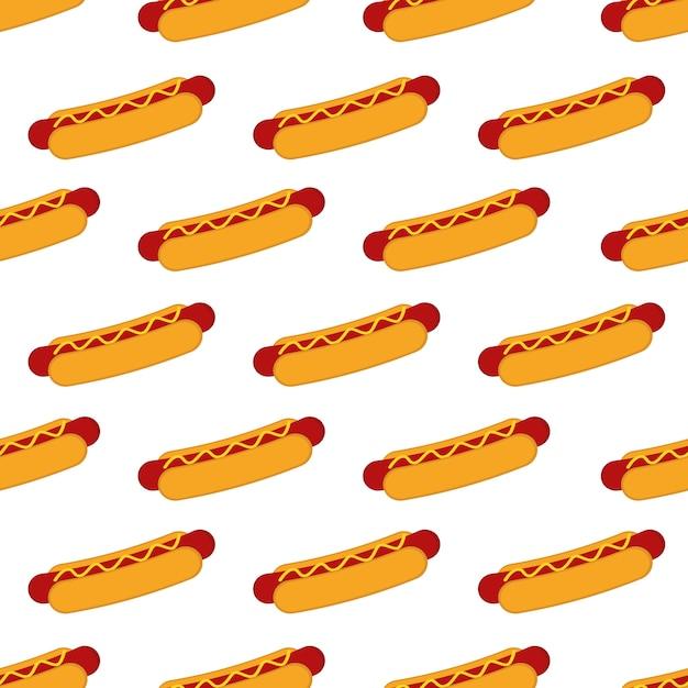Hotdog-nahtloses muster-hintergrund-vektor-design Premium Vektoren