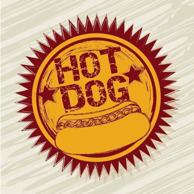 Hotdogaufkleber über beige hintergrundvektorillustration Premium Vektoren