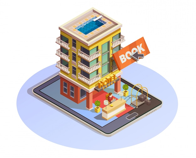Hotel-buchungsschaltfläche isometrische tablet-symbol Kostenlosen Vektoren
