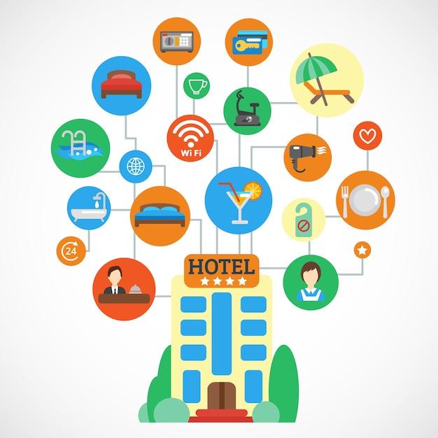 Hotel flat set Kostenlosen Vektoren