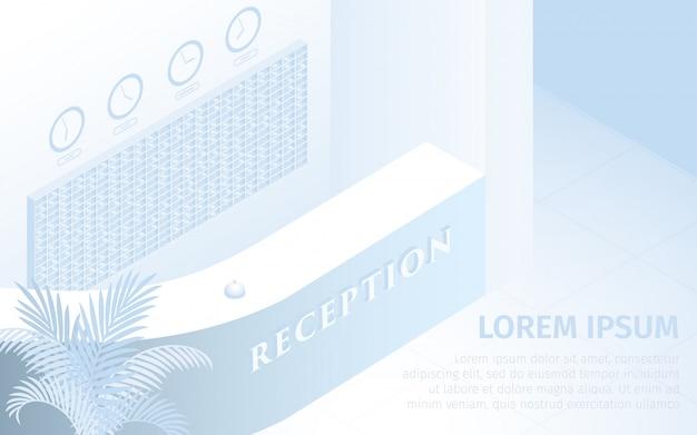 Hotelaufnahme-schreibtisch-vektor-isometrische illustration Premium Vektoren
