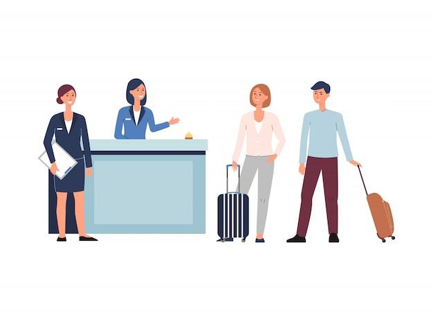Hotelaufnahmelobby - karikaturleute mit gepäck mit personal eincheckend Premium Vektoren