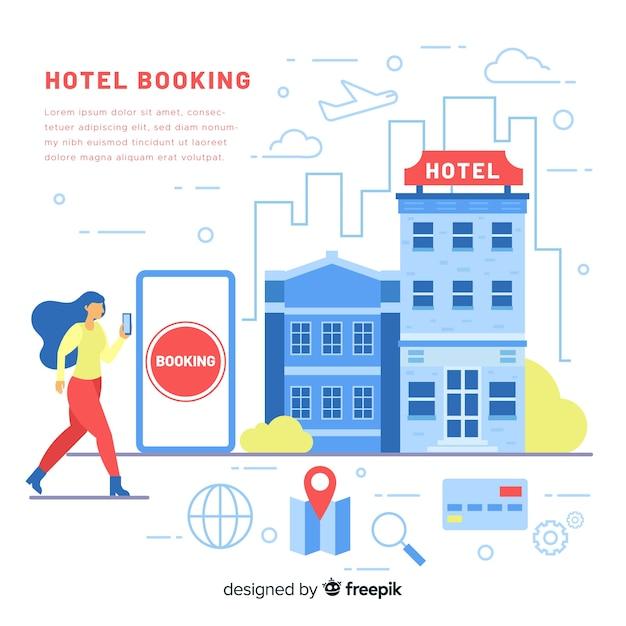 Hotelbuchungshintergrundschablone Kostenlosen Vektoren
