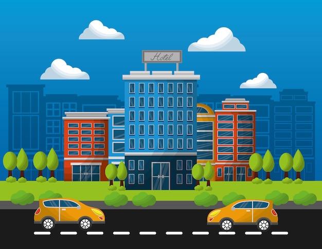 Hotelgebäude-taxis in der straßenvektorillustration Premium Vektoren