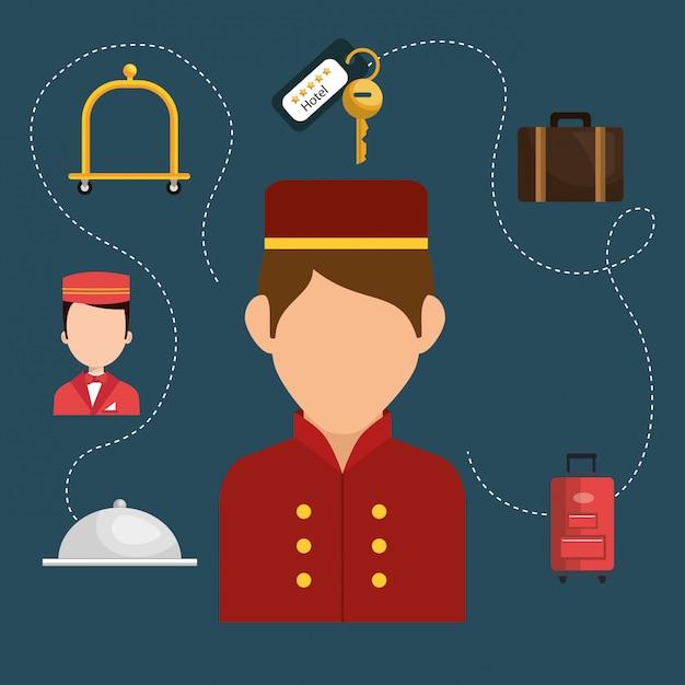 Hotelpage arbeitet im hotelcharakter Kostenlosen Vektoren