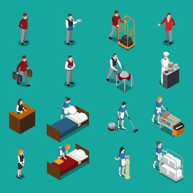 Hotelpersonal isometric set Kostenlosen Vektoren