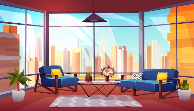 Hotelreihe in der wolkenkratzerkarikaturvektor-innenraumillustration Kostenlosen Vektoren