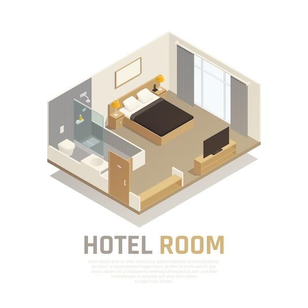 Hotelzimmer mit hellem möbelfernsehen und badbereich mit isometrischer zusammensetzung der dusche und der toilette Kostenlosen Vektoren