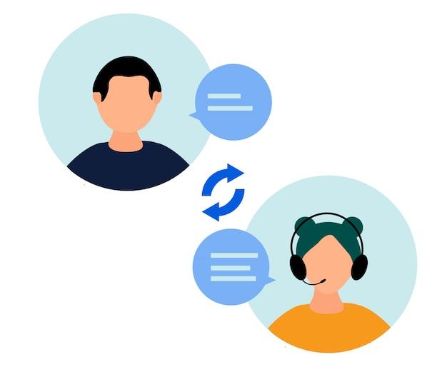 Hotline-betreiberin berät kunden Premium Vektoren