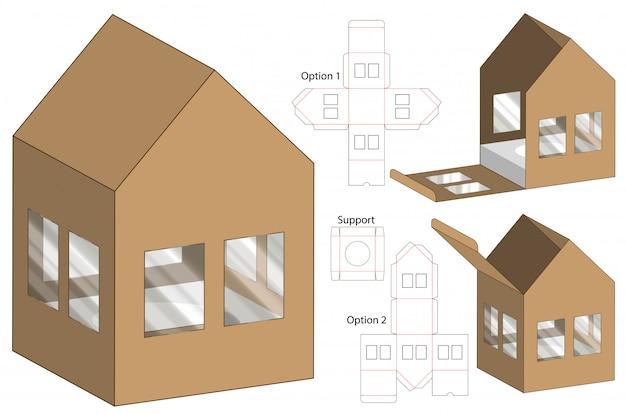 House shape box verpackung stanzvorlage design Premium Vektoren
