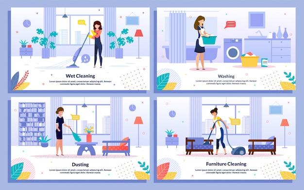 Housekeeping jobs wohnung promo bannerset Premium Vektoren