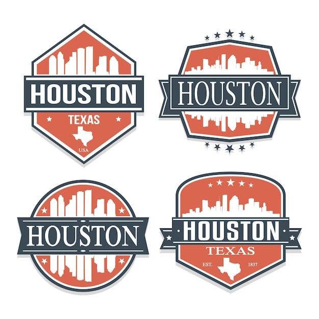Houston texas satz von reisen und business-briefmarken-designs Premium Vektoren