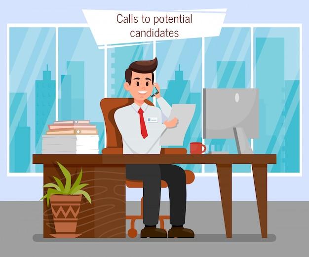 Hr-manager an der arbeitsplatz-farbvektor-illustration Premium Vektoren