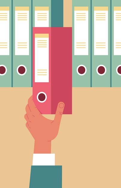Hr-manager-handbüro, das roten ordner in der vertikalen vektorillustration des personalbeschaffungskonzepts des archivs herauszieht Premium Vektoren