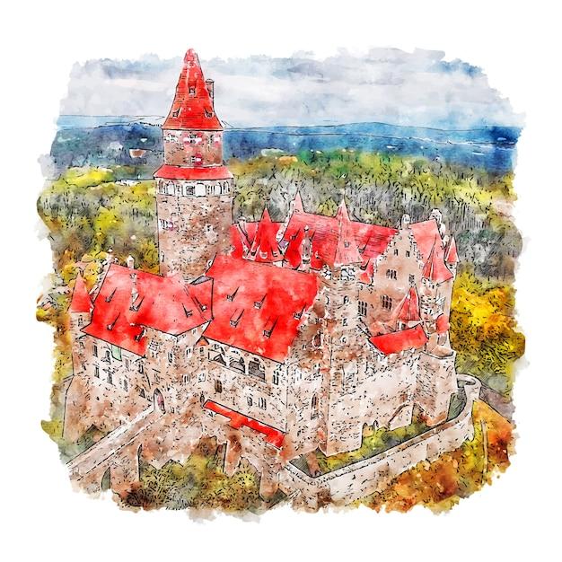 Hrad bouzov schloss aquarell skizze hand gezeichnete illustration Premium Vektoren