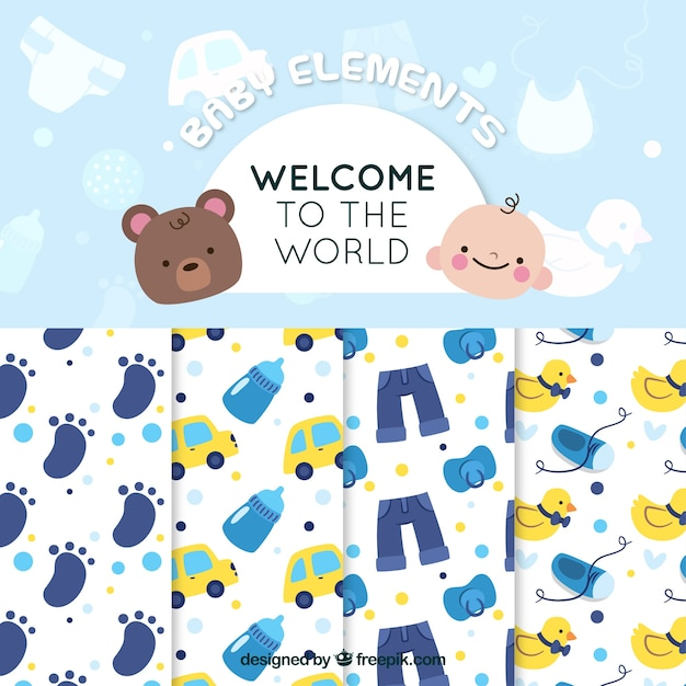 Hübsche Muster von Baby-Dusche-Pack   Download der kostenlosen Vektor