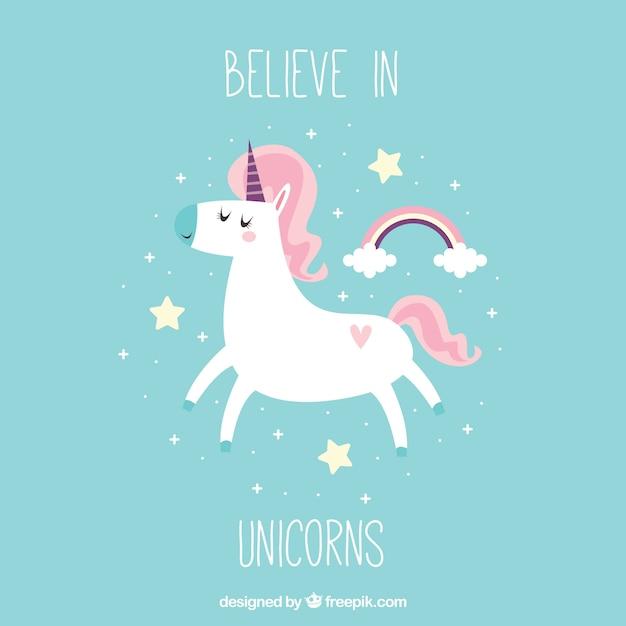"""Hübsche Vintage Einhorn Hintergrund mit Text """"an Unicorns glauben"""" Kostenlose Vektoren"""