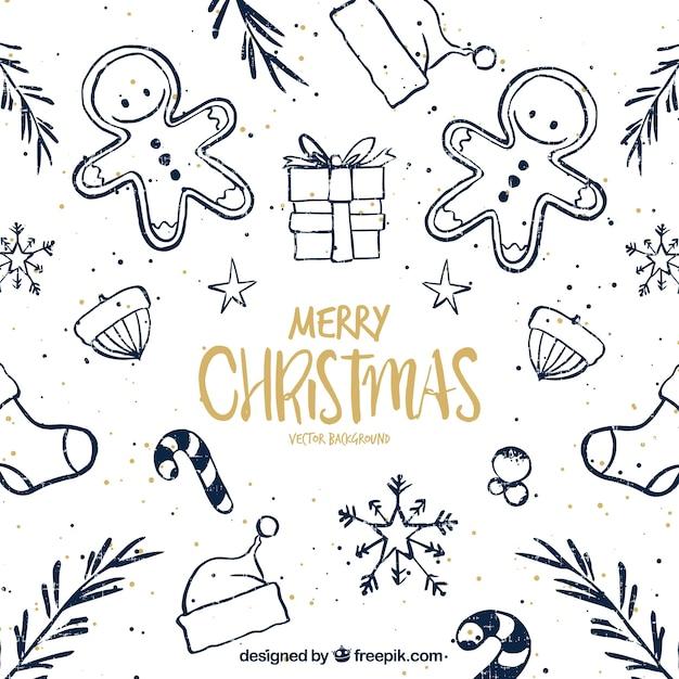 Hübsche Weihnachten Skizzen Hintergrund Kostenlose Vektoren