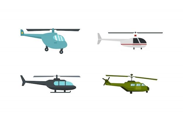 Hubschrauber-icon-set. flacher satz der hubschraubervektor-ikonensammlung lokalisiert Premium Vektoren