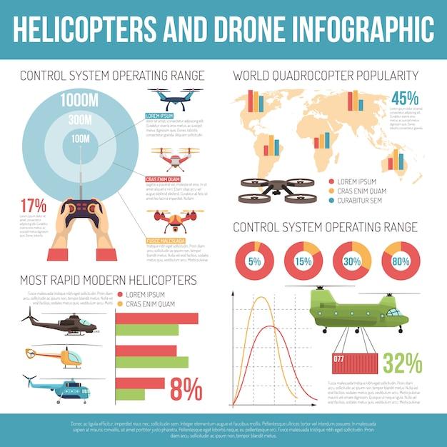 Hubschrauber und drohne infografiken Kostenlosen Vektoren
