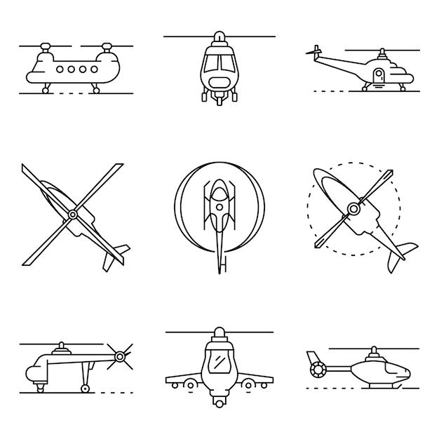 Hubschrauberikonen eingestellt. umrisssatz hubschraubervektorikonen Premium Vektoren