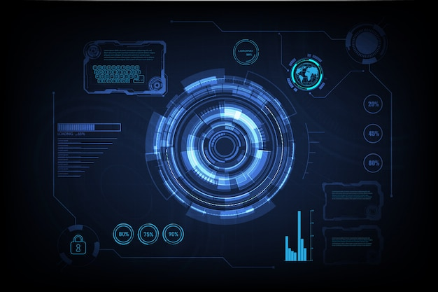 Hud interface gui futuristische technologie vernetzung Premium Vektoren