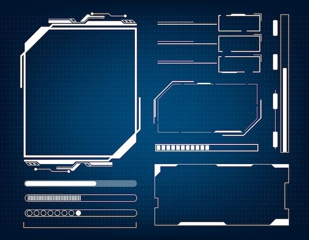 Hud konzept der futuristischen schnittstelle der abstrakten technologie Premium Vektoren