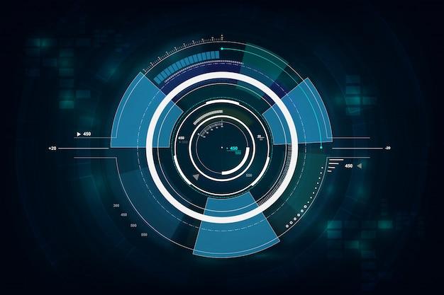 Hud-schnittstelle gui futuristisches technologievernetzungskonzept Premium Vektoren