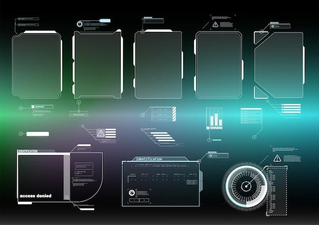 Hud ui gui futuristische benutzeroberfläche bildschirmelemente gesetzt. hightech-bildschirm für videospiele. sci-fi-konzept. Premium Vektoren