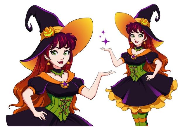 Hübsche junge hexe. halloween-party ankündigen. hand gezeichnetes karikaturmädchen mit bunten haaren und grünen augen. Premium Vektoren