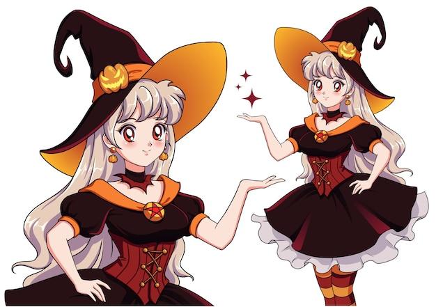 Hübsche junge vampirhexe. halloween party. hand gezeichnetes retro-anime-mädchen mit weißen haaren und roten augen Premium Vektoren