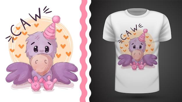 Hübsche teddykrähe für druckt-shirt Premium Vektoren