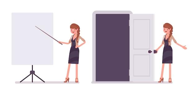 Hübsche weibliche büroangestellte nahe dem whiteboard bei der präsentation Premium Vektoren