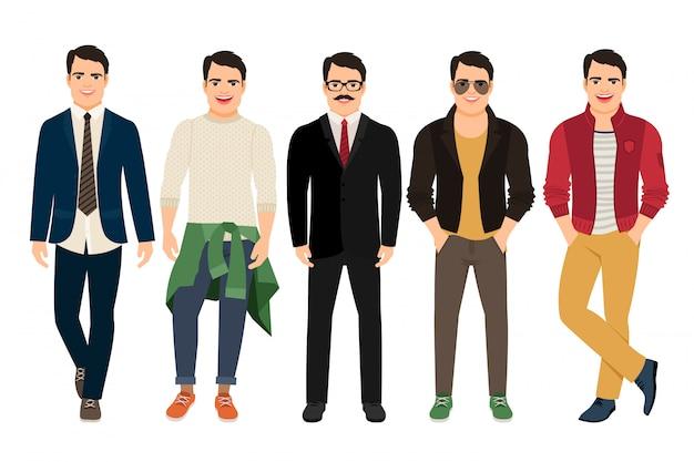 Hübscher kerl in der zufälligen und geschäftsart. junger mann in der unterschiedlichen männlichen kleidungsvektorillustration Premium Vektoren