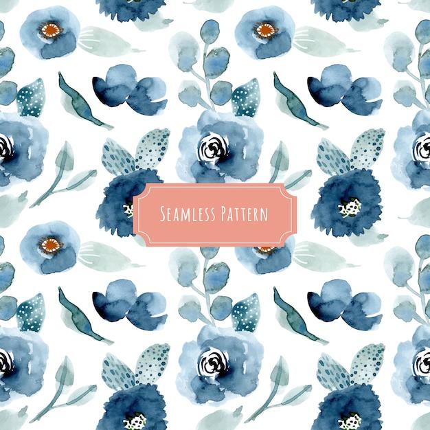 Hübsches blaues nahtloses muster des blumenaquarells Premium Vektoren