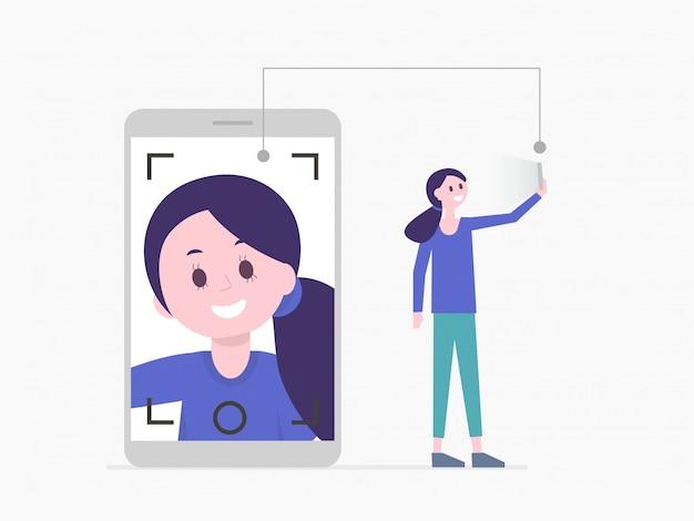 Hübsches mädchen der karikatur, das selfie auf smartphone nimmt oder videoanruf hat Premium Vektoren