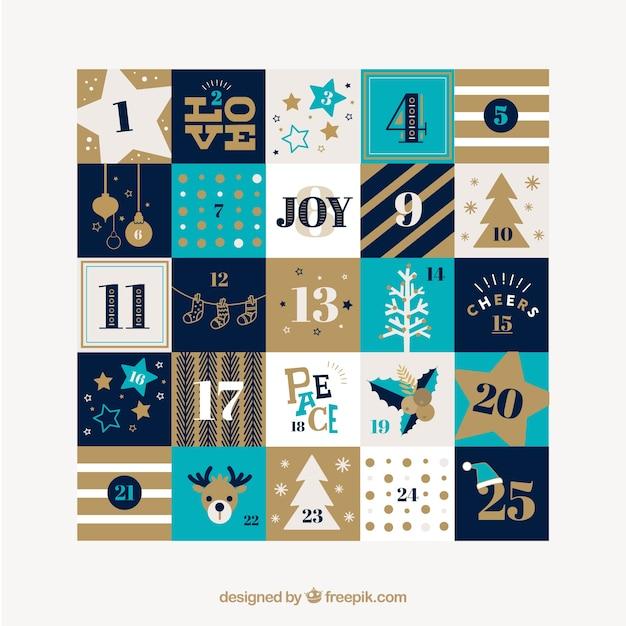 Hübsches weihnachtskalender mit ornamenten und streifen Kostenlosen Vektoren